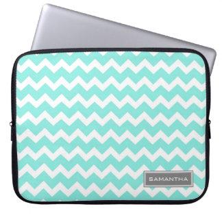 Laptop Teal Chevron Custom Name Laptop Sleeve