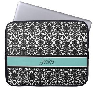 Laptop Teal Damask Custom Name Laptop Sleeve