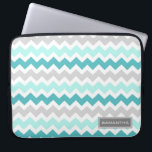 "Laptop Teal Ombre Chevron Custom Name Laptop Sleeve<br><div class=""desc"">Laptop case with fun and modern turquoise aqua blue,  grey and white fun and retro chevrons zigzags stripes vintage pattern. Personalize this case with your own name or other custom text to create a truly unique case. Contact us to request a color change.</div>"