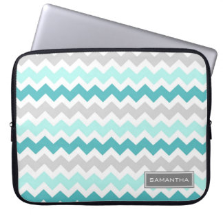 Laptop Teal Ombre Chevron Custom Name Laptop Sleeve