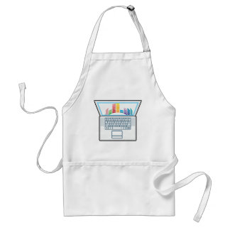 Laptop Top View vector graphic Adult Apron