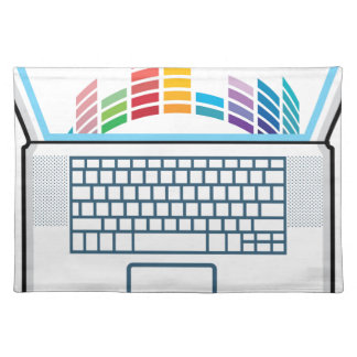 Laptop Top View vector graphic Cloth Placemat