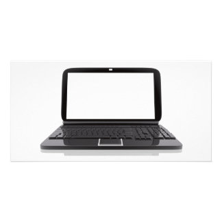 Laptop with blank screen photo card