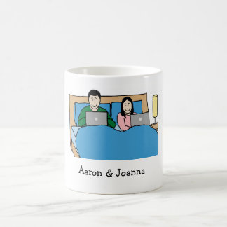 Laptops in bed couple coffee mug