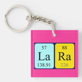 Lara periodic table name keyring Single-Sided square acrylic keychain