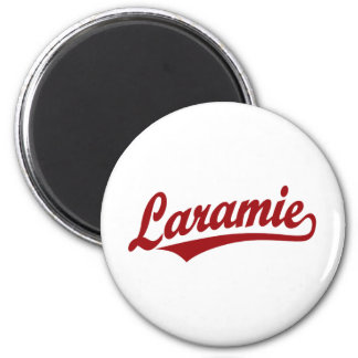 Laramie script logo in red 2 inch round magnet