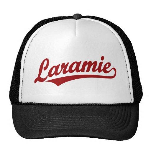 Laramie script logo in red trucker hat