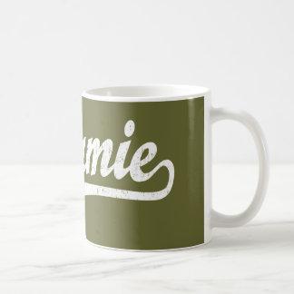 Laramie script logo in white distressed classic white coffee mug