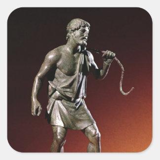 Lararium statuette of a water carrier square sticker
