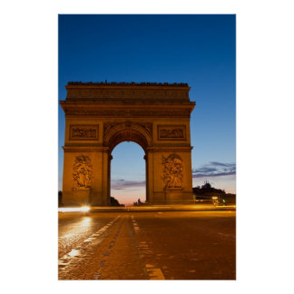 L'Arc de Triomphe at Night Poster