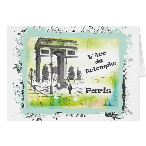L'Arc de Triomphe Collage Stationery Note Card