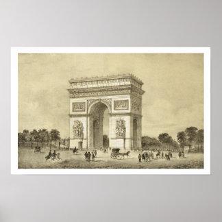 L'Arc de Triomphe, París, grabada por Auguste Bry Poster
