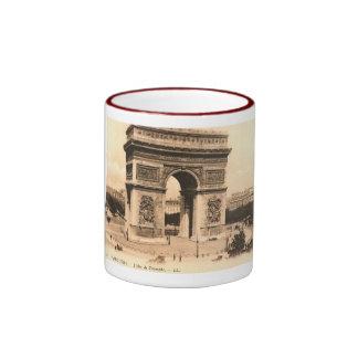 L'Arc de Triomphe, vintage de París, Francia Taza A Dos Colores