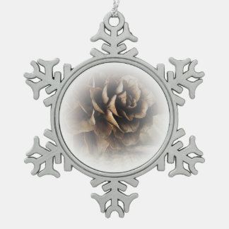 Larch Cone Snowflake Pewter Christmas Ornament
