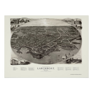 Larchmont, NY Panoramic Map - 1904 Poster