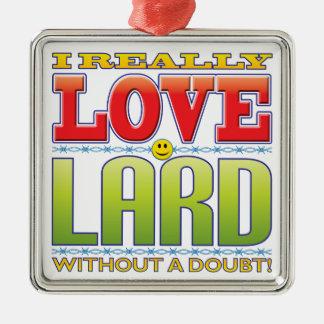 Lard Love Face Silver-Colored Square Decoration