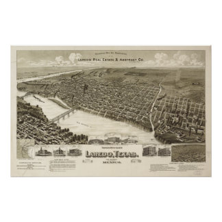 Laredo Texas 1892 Antique Panoramic Map Posters