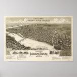 Laredo Texas 1892 Antique Panoramic Map Poster