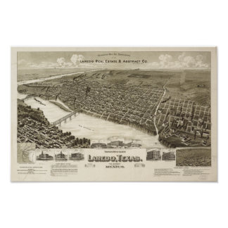 Laredo Texas 1892 Antique Panoramic Map Poster