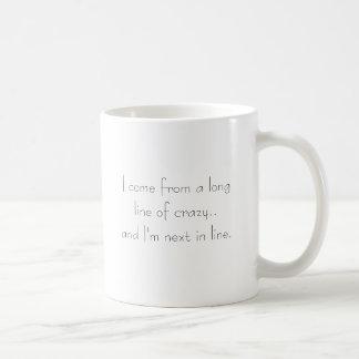 Larga cola de loco taza de café