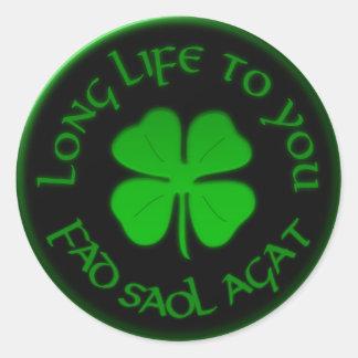 Larga vida a usted refrán irlandés pegatinas redondas