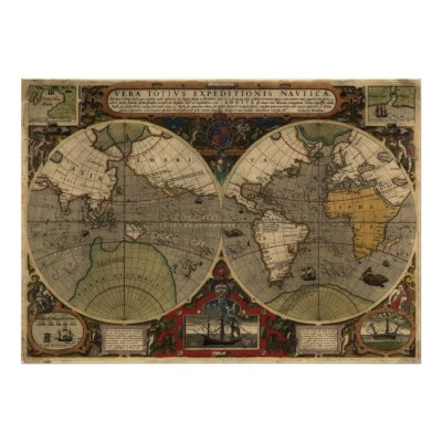 "Large ""1595 World Map of Hondius"" Historic Map Print by"
