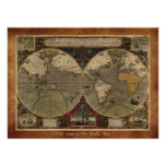 "Large ""1595 World Map of Hondius"" Historic Map Poster"