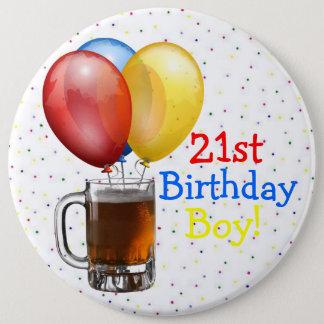 Large 21st Birthday Boy Pinback Button