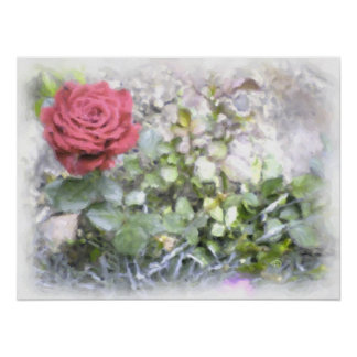 """Large 24"""" x 18"""" Watercolor Red Mini Rose Still Lif Poster"""