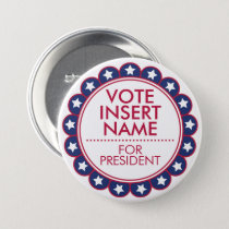 "Large 3"" Button Vote Election Political Campaign"
