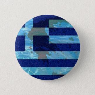 Large, 3 Inch Round Button, Greek flag Button