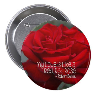 Large, 3 Inch Round Button My Love Red Rose