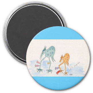 """Large, 3"""" Round Magnet with Pud and Beaky"""