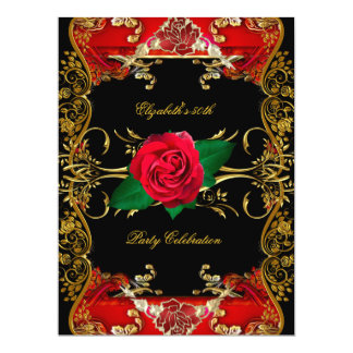 LARGE 50th Birthday Party Gold Black Red Roses Card