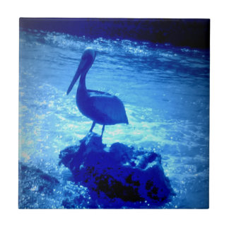"Large (6"" X 6"") Ceramic Tile with Blue Pelican"