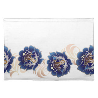 Large Abstract Blue Flowers Cloth Placemat