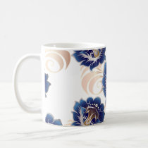 Large Abstract Blue Flowers Mug