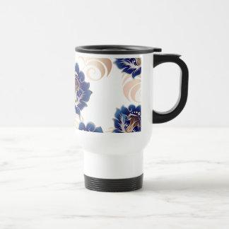 Large Abstract Blue Flowers Travel Mug