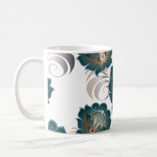 Large Abstract Blue-Green Flowers & Silver Leaves Coffee Mug