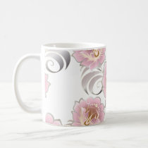 Large Abstract Bright Pink & Silver Colored Flower Coffee Mug