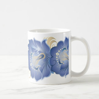 Large Abstract Flowers Cerulean Blue Coffee Mug