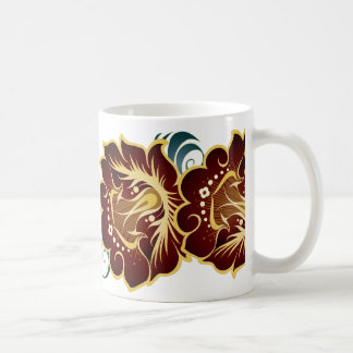 Large Abstract Flowers in Deep Red & Green Leaves Coffee Mug