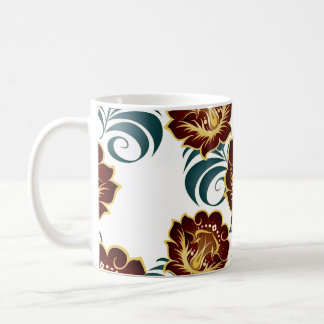 Large Abstract Flowers in Red & Green Coffee Mug