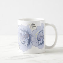 Large Abstract Flowers Light Blue & Silver Leaves Coffee Mug
