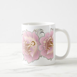 Large Abstract Flowers of Pink & Silver Coffee Mug