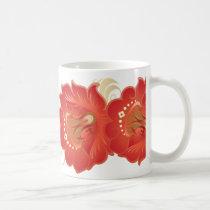 Large Abstract Flowers Red-Orange & Cream Leaves Coffee Mug
