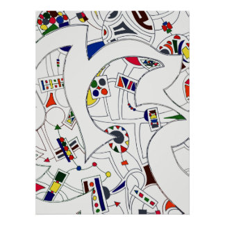 Large Abstract  Ink Drawing Poster