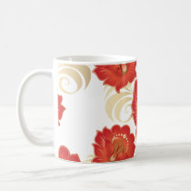 Large Abstract Red-Orange Flowers Coffee Mug