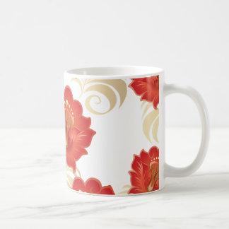 Large Abstract Red-Orange Flowers Mug
