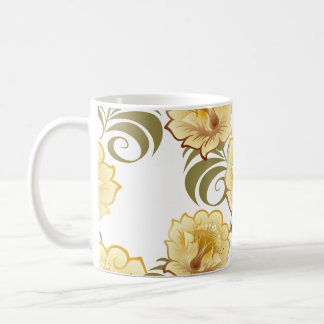 Large Abstract Yellow Flowers & Green Leaves Coffee Mug
